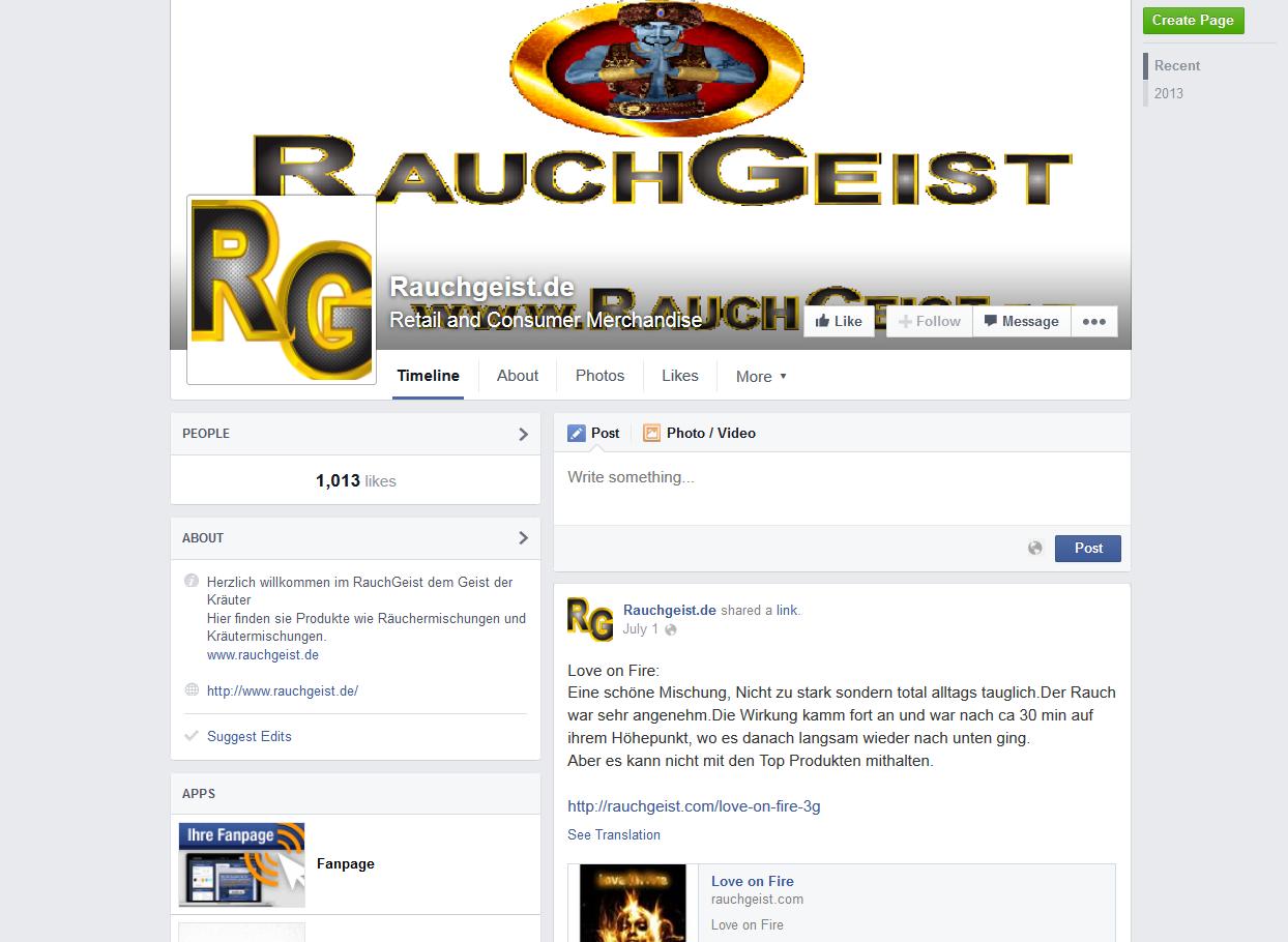 Facebook Fanpage RauchGeist